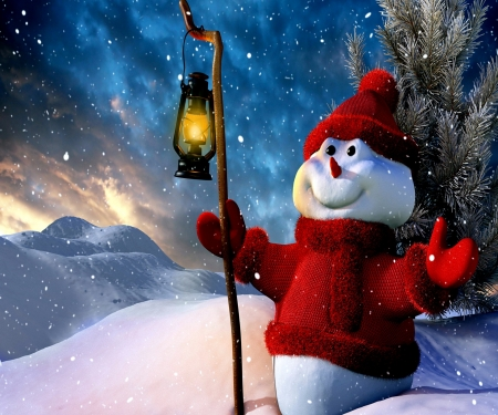 Snow Man In Red - Hat, Red, Lanter, Snow man, Gloves, Snow, Sweater