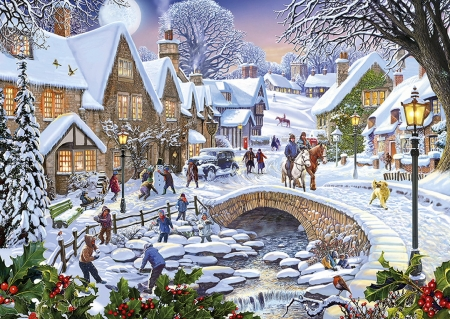 Snow city - color, beautiful, season, winter, landscape, colorful, lamp, christmas, snow, bridge, painting