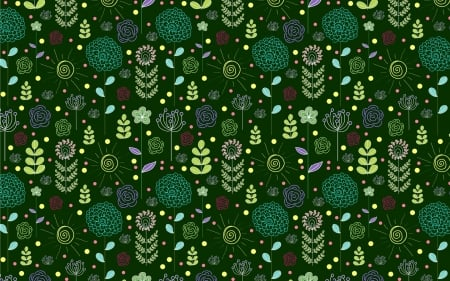 Flower Pattern - dark green, pattern, flowers, vector
