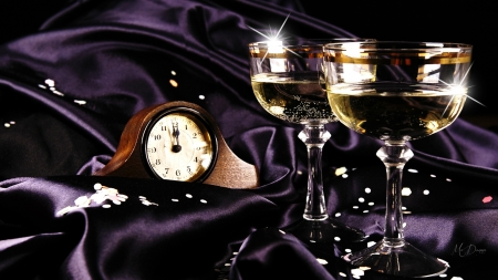 New Year Toast - New Year, purple satin, glasses, champagne, crystal, clock, celebrate, stars, time, sparkle