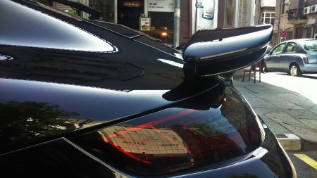 The Black Pearl - Porsche 911 Turbo 2008 - turbo, spoiler, 911, rear, porsche, black, light