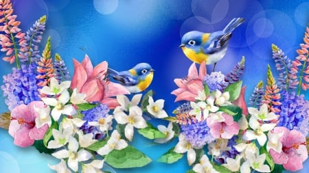 Abundance of Spring - Firefox theme, blue birds, bokeh, summer, birds, flowers, spring, floral