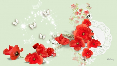 Poppy Display - Firefox theme, sparkle, poppy, stars, sprinkles, flowers, butterflies, floral