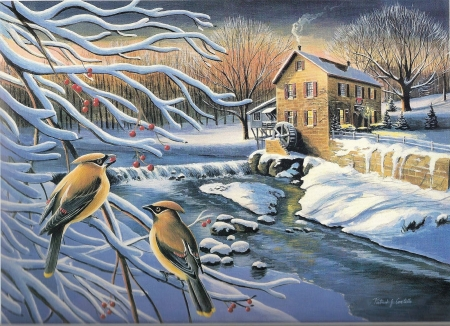 Winter Jays - snow, painting, birds, ice, river, trees, artwork, winter, watermill, berries