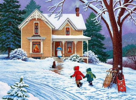 Call for Cocoa - mom, house, tree, snow, painting, children, artwork, winter