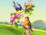 Painted Spring Birds