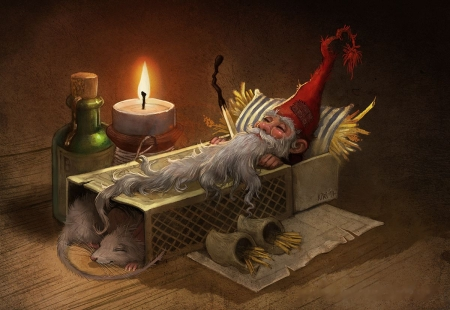 Sleeping Gnome - bottle, mouse, bed, candle, art, matchbox