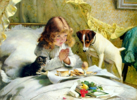 Suspense - kitten, bed, dog, praying, painting, child