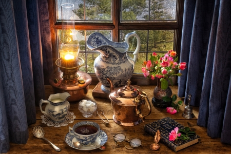 Still Life - dishes, still life, lamp, sugar, flowers, book, tea