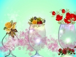 Crystal Vases With Flowers