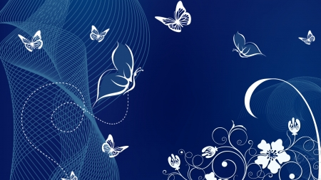 Nature Blue White Butterflies Animals Background Wallpapers