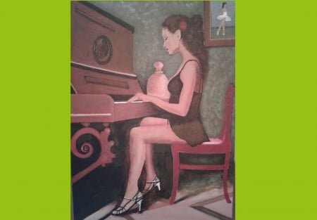 piano player painted by saad kilo - music player, beauty, Music, love