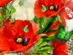 Poppies & Green Butterflies