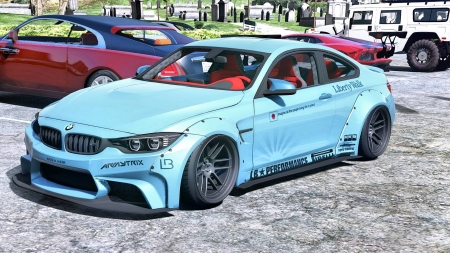 BMW M4 - Liberty Walk - bmw, blue cars, front view, vehicles, BMW M4 Liberty Walk, bmw m4