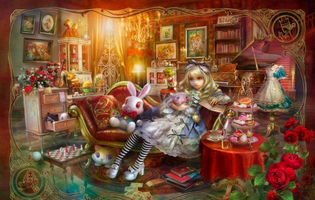 Alice Library - rose, girl, alice, shu little bit, shu, bunny, red, luminos, book, fantasy, library