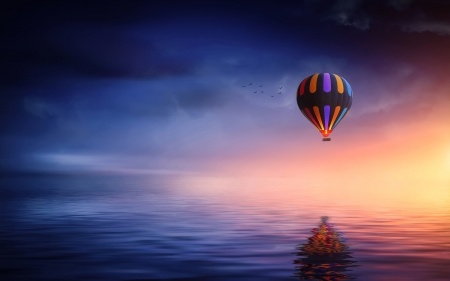Hot Air Balloon Sunsets Nature Background Wallpapers On