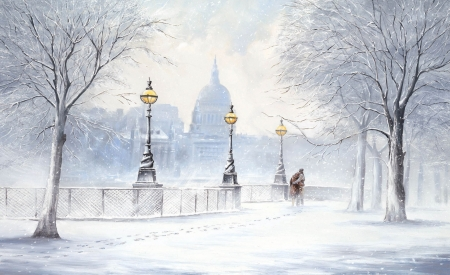 Winter in Rome - Rome, drawing, couple, winter