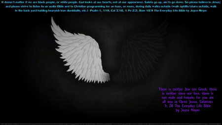 Black or White Issue Solved 2 - angels wings, wings, christianity, christian, black and white, religious, peace, hope, sayings, quotes, love, hate, racism, faith