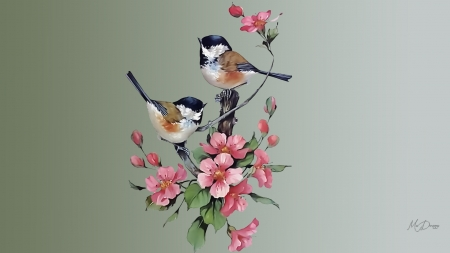 Painted Chickadees - art, chickadees, sakura, flowers, birds, spring, floral, cherry blossoms, painted
