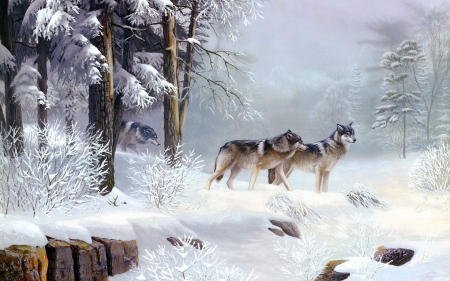 wolves - forest, snow, wolves, winter, painted