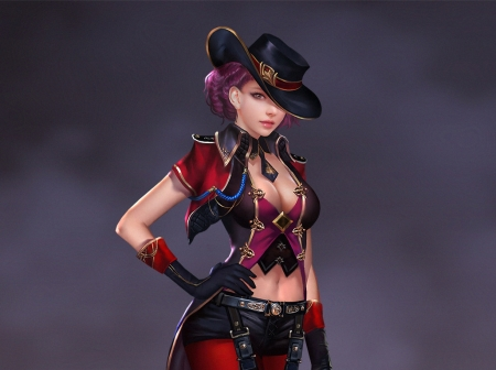 Cowgirl - hat, red, fantasy, luminos, cowgirl, ares, black