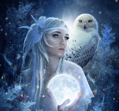:) - owl, luminos, frostalexis, luna, yellow eyes, winter, iarna, bufnita, fantasy, moon, girl, hand, white, blue