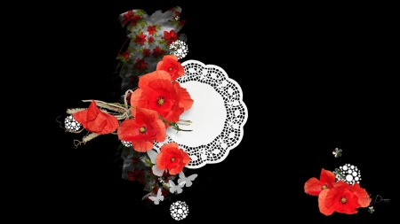Poppies on Lace - lacy, wild, poppies, flowers, abstract, floral, Firefox theme, poppy, doily, spring, summer