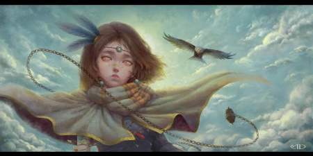Song of the wind - cloud, fantasy, mu liao, luminos, bird, eagle, scarf, art, wind, sky