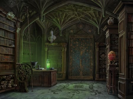 Library - egg, fantasy, library, green, olga antonenko, game, room