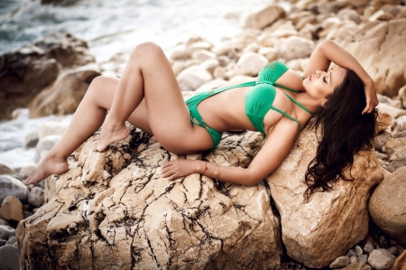 Beauty - swimsuit, model, green, rock, girl, stone, summer, woman, vara