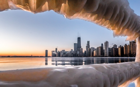 Winter in Chicago - ice, Chicago, lake, winter, America