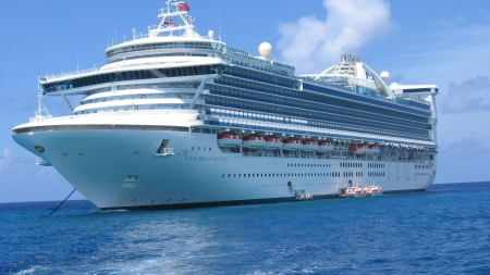 Caribbean Princess - blue, carribean, vacation, cruiser, transport, ocean, travel, liner, sea, water, ship, voyage, princess, white