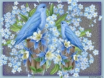 BIRDS WITH FORGET ME NOTS