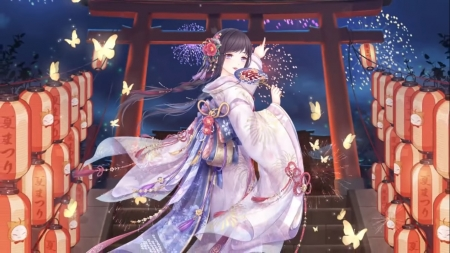 Hidden in Hanabi - staircase, japan, nice, stair, butterfly, love, anime, yukata, fireworks, shrine, beauty, anime girl, night, gate, hanabi, female, lovely, sky, kimono, cute, kawaii, girl, oriental, stairway, scene, maiden, pretty, adorable, sweet, long hair, japanese, hd, scenic, lantern, beautiful, gorgeous, brown hair, lady