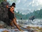 Indian Hunting With Atlatl