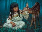 Native Child with a Fawn