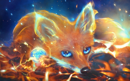 Firefox - vulpe, fantasy, fox, orange, luminos, firefox, marilucia, blue, eyes