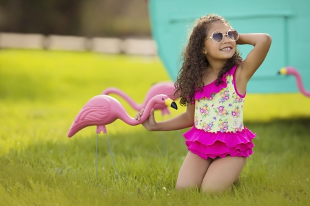 Little girl - kid, photography, green, people, beauty, child, face, pink, bonny, Belle, lovely, comely, pure, black, smile, fun, baby, sit, cute, girl, swim, summer, nature, childhood, curly, pretty, grass, adorable, sweet, sightly, nice, wallpaper, Hair, little, DesktopNexus, beautiful, dainty, fair, princess