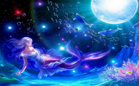 Mermaid by Kagaya - moon, fishes, water, dolphins, fish, mermaid, whales, waters, moonlight, blue