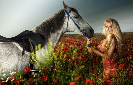 Holding On. . - cowgirl, ranch, horse, outdoors, fantasy, flowers, field, style, western, blondes