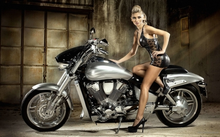 silver dream racer - blonde, walls, girl, motorcycle