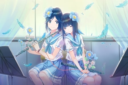 Liz to aoi tori - blue, pretty, hd, sleep, curtain, beautiful, sweet, nice, anime, beauty, instruments, flowers, anime girl, long hair, lovely, female, window, skirt, nap, short hair, kawaii, girl, uniform, blue hair, petals, seifuku