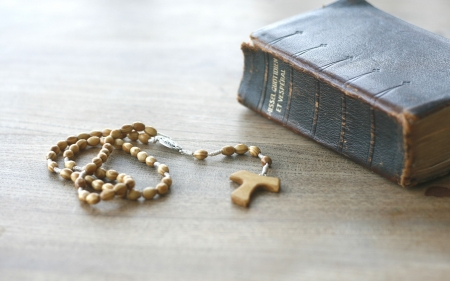 Rosary and Book of Prayers - book, prayers, rosary, wooden, old