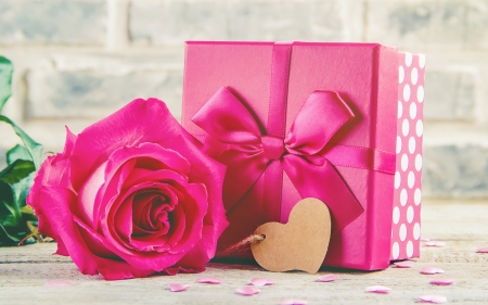 Happy Valentine's Day! - pink, rose, flower, bow, valentine, gift, card