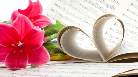 Music of Love - orchids, Valentines Day, romance, music, notes, heart, flowers, floral