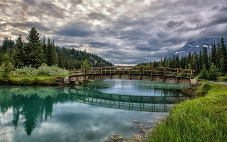 Wooden Bridge Above The Lake - bridge, nature, trees, reflection, clouds, sky, lake
