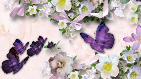 Brighten Your Day - Firefox theme, summer, flowers, butterflies, spring, ribbons, bows, apple blossoms