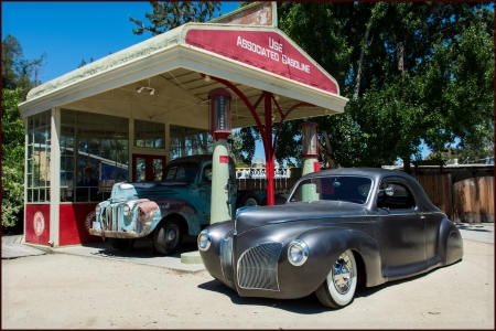 1939 Lincoln Zephyr - gas station, lowrider, old, car