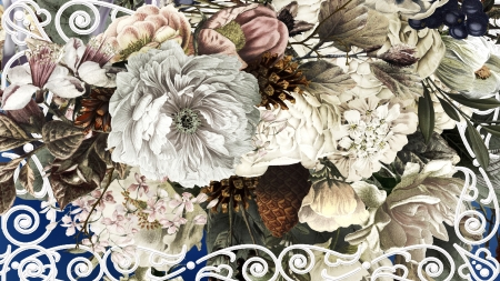Framing Flowers - berries, frame, scrolls, flowers, summer, spring, floral, Firefox theme, fall, pine cones