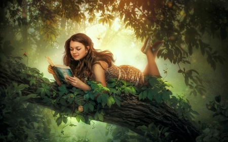 Reading Book - tree, relaxing, girl, light, art